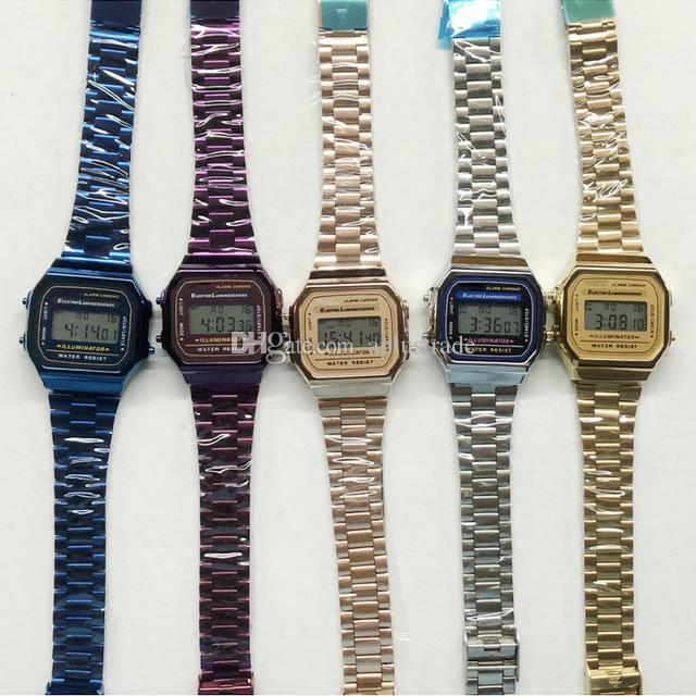 Retail F-91W LED Watch Sport Digital Watches High Quality 5 Colors Watches with Steel Belt Thin Electronic Watches