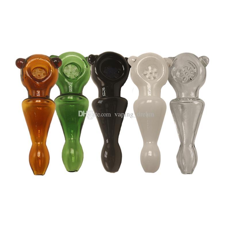 Tubos de Wholeslae mano tubería con copo de nieve diseño de vidrio Pyrex Embriagador 10.5cm uñas Cuchara de tuberías de petróleo Bongs Color de las agujas de tubo grueso para fumadores