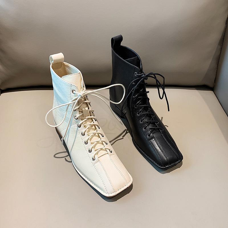 2019 nouvelle mode des femmes en cuir véritable botte hiver de femme Low Mode (1cm-3cm) L'équitation à lacets cheville bout carré