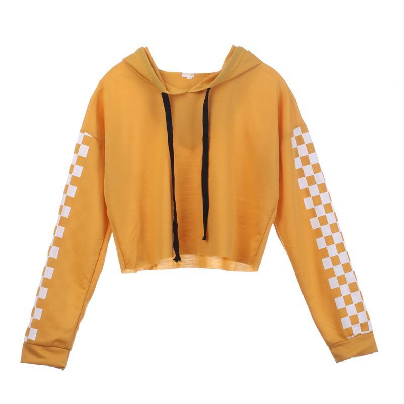 2017 Autumn Women Hoodies Solid Crop Hoodie Plaid Long Sleeve Hooded Pullover Coat Casual Sweatshirt Top Sudaderas Mujer