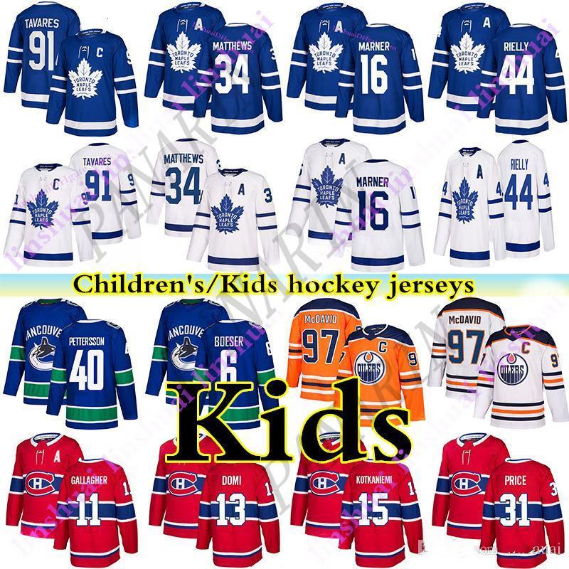 Toronto Maple Leafs Kids (Juventude) Jersey 91 John Tavares Montreal Canadiens Vancouver Canads Vancouver Edmonton Oilers Kids Hockey Jerseys