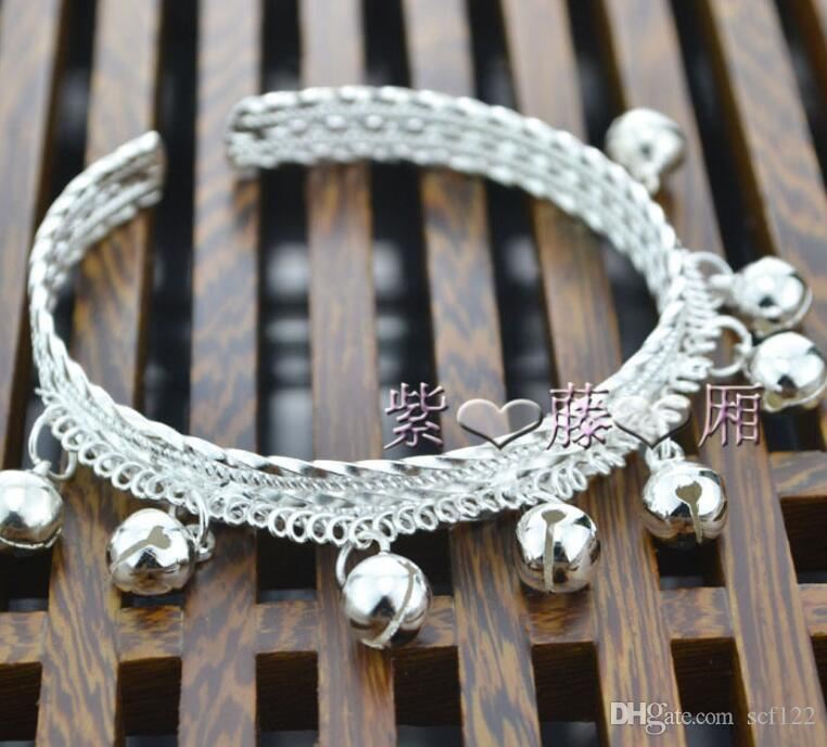 Bracelet style adult children's models more adjustment national bells size new dance seedlings silver nationality