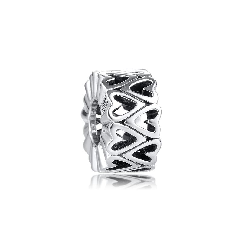 Solid 925 Sterling Silver  Love Spacer Charm Bead