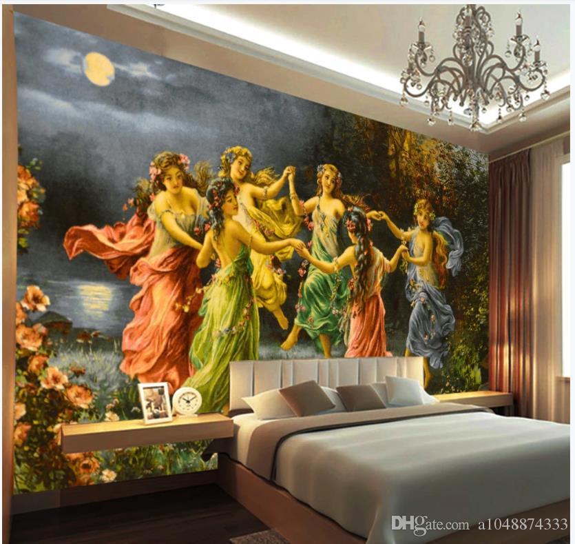صورة مخصصة خلفية 3D جدارية خلفيات لغرفة المعيشة جهة الأوروبي رسمت اللوحة النفط إلهة اللوحة الزخرفية خلفية جدار