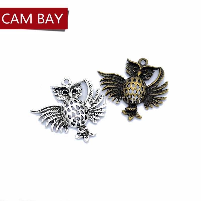 Металл Античное Серебро Бронза Сова подвески для DIY серьги ожерелье ювелирные изделия аксессуары 37 * 36 мм D160