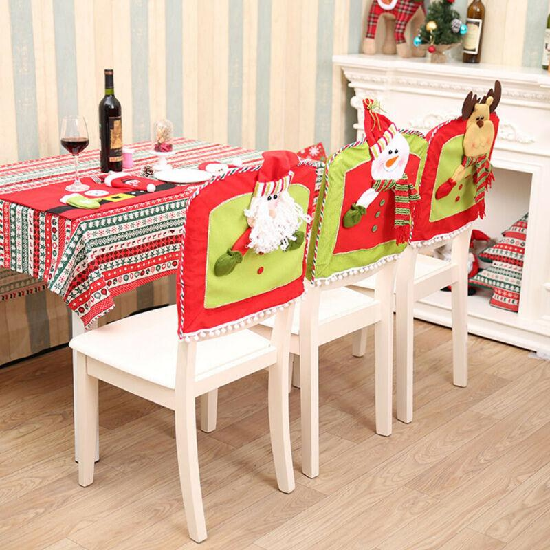 Chair Cover Christmas Santa Claus Red Cap Chair Back Cover Dinner Table Case Decorations Print Soft Arm Chair