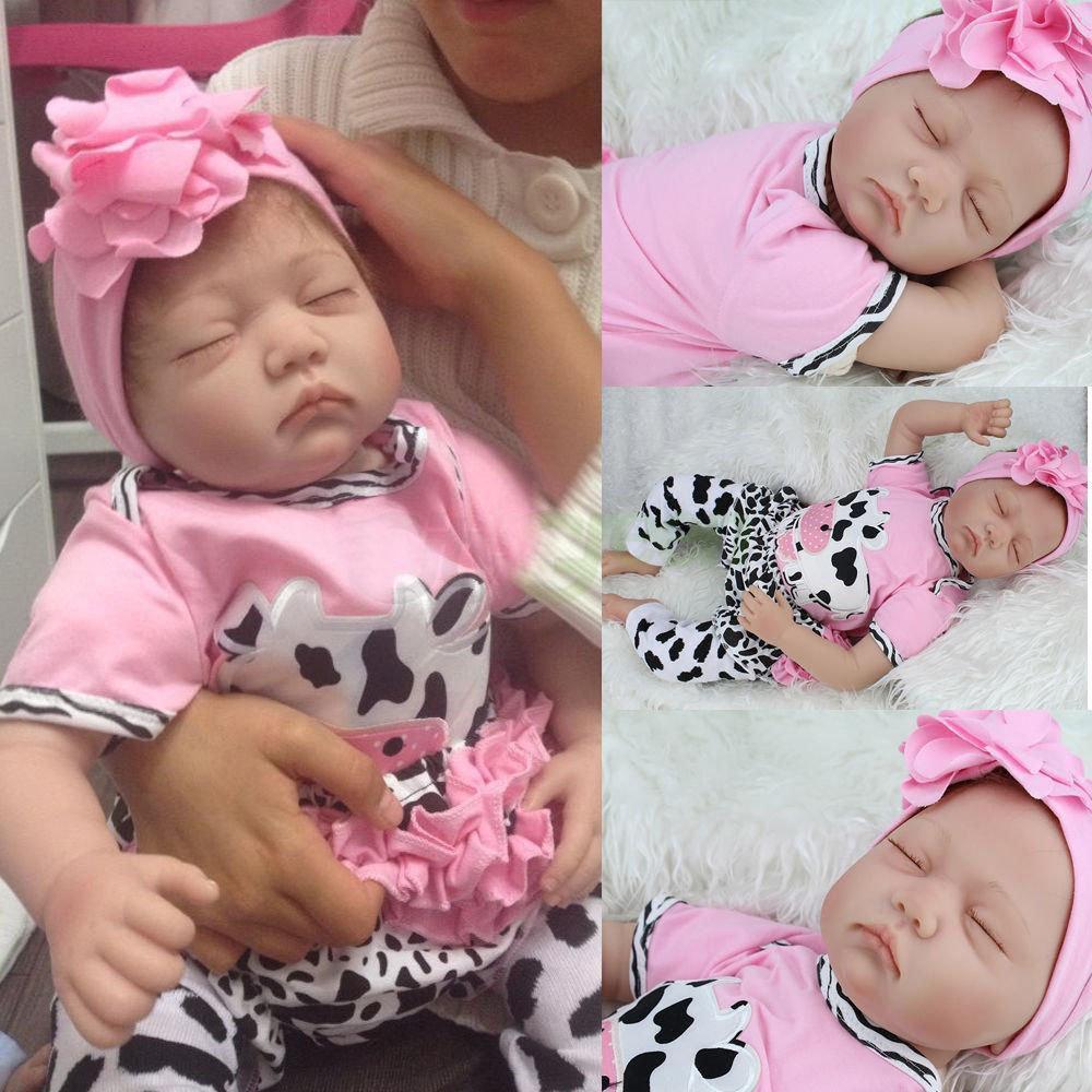 22 polegadas 55 centímetros de silicone suave Handmade Renascer Baby Girl Dolls aparência realista recém-nascido boneca Criança de aniversário bonito