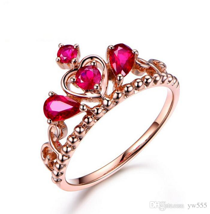 Crown temperament simulation rose red tourmaline colored gemstone open ring female fashion living ring