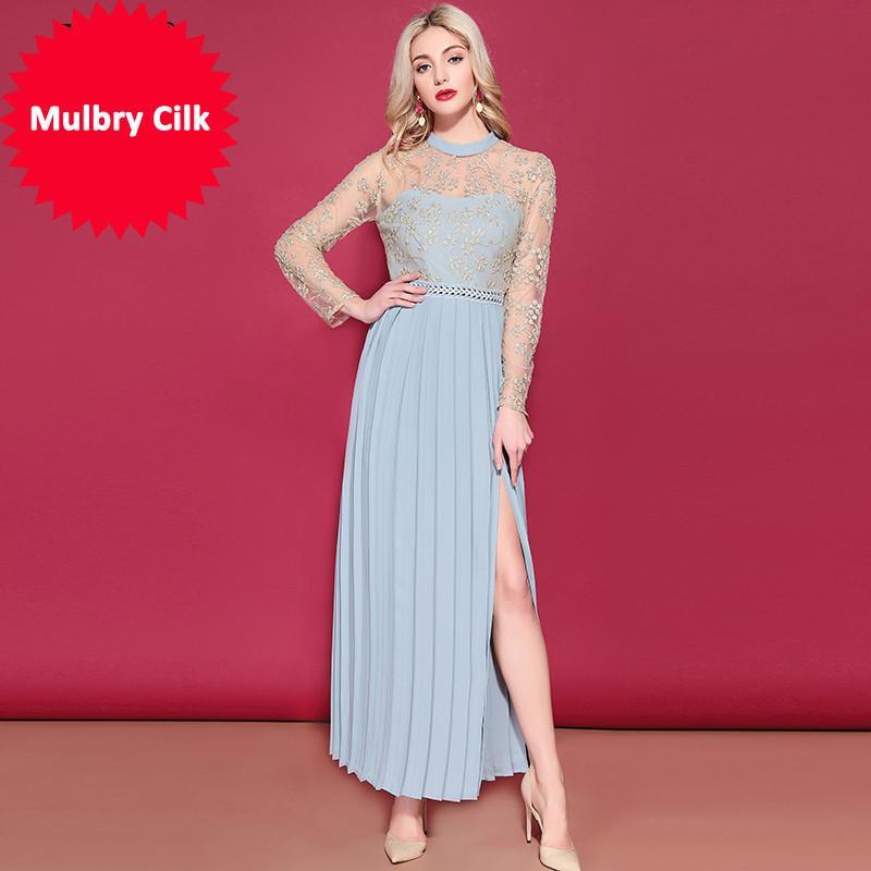 Ld Linda Della femme à manches longues Maxi robe magnifique d'or de fil de broderie robe longue fendus élégantes de fête Robes formelles