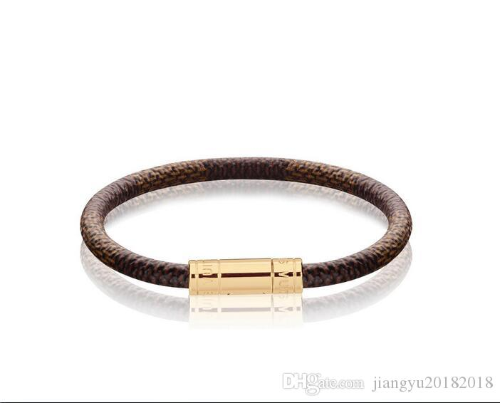High Quality Celebrity Letter Metal Buckle Rivets Wide bracelet Real Leather Fashion Metal Cuff bracelet Jewelry With Box