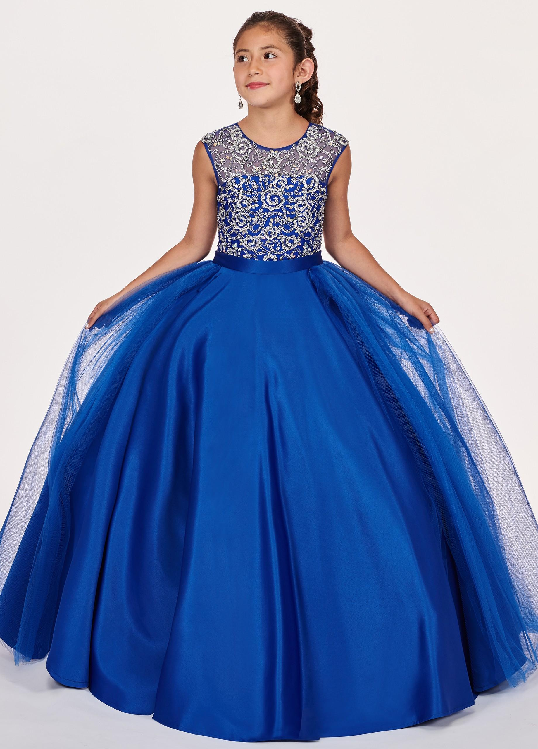 Hot Sale Royal Blue Girls Pageant Dresses 2020 Sheer Neck Hollow Back Satin Ball Gowns Beading Sequin Prom Party Dress For Kids Girls