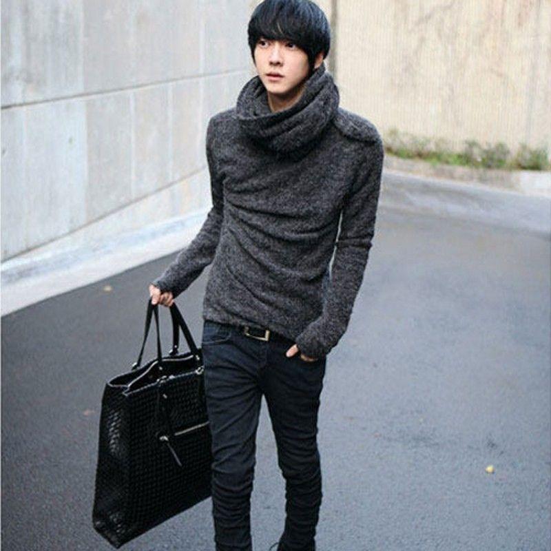 Nouveau mode coréenne Hommes Automne en vrac laine épais classique Pulls Pull col roulé noir Manteaux Sueter Hombre bateau libre