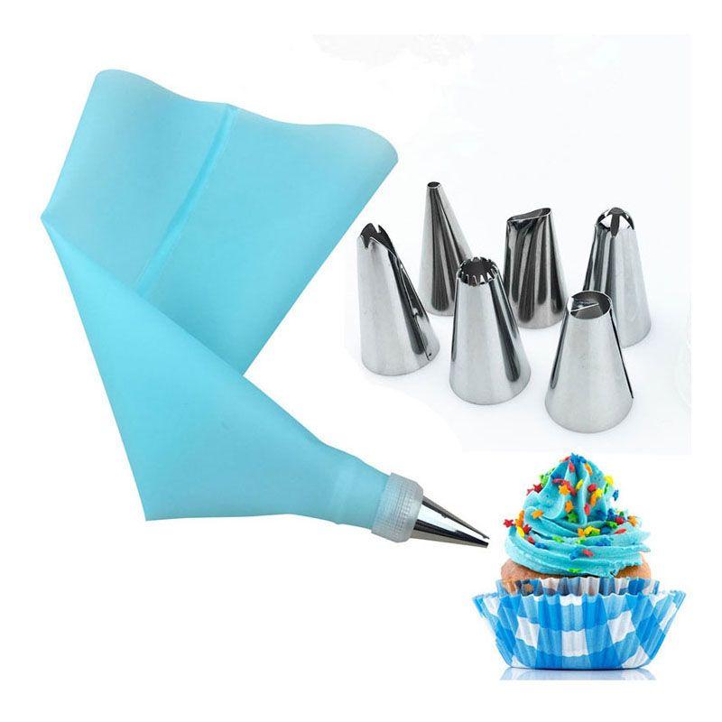 8 PCS / set silicone Accessoires de cuisine Icing Piping Crème Rose Pastry Sac + 6 bricolage Buse en acier inoxydable de décoration de gâteau Conseils