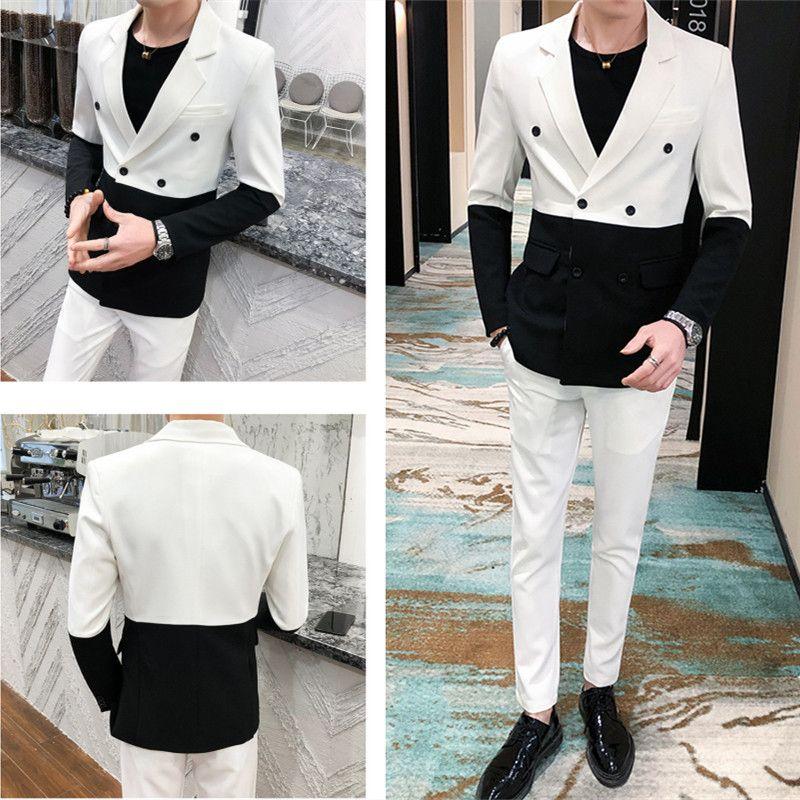 Biçimsel Erkek Takım Elbise Siyah Beyaz Ekleme Blazer Damat Gelinlik Akşam Parti Balo Singer Sunucu Sahne Kostüm Suit Takımları