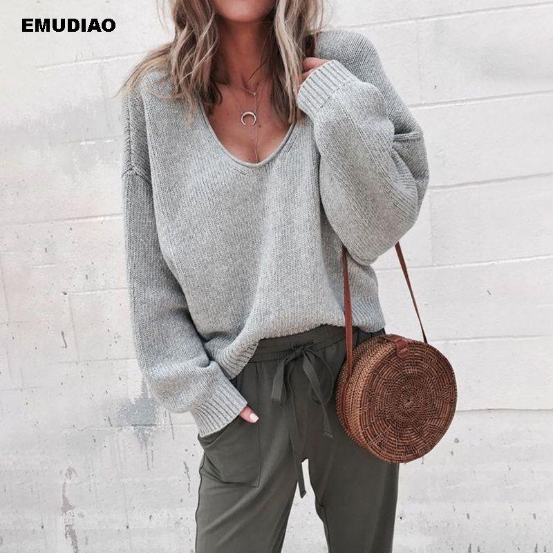 Informal suéter hecho punto de las mujeres Streetwear cuello en V suéteres manga larga suelta la capa 2019 de las mujeres del otoño invierno de la manera suéter SH190930 Sólido
