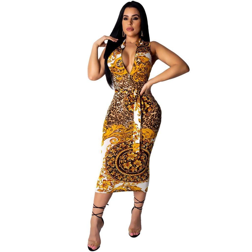 Kadınlar Seksi Elbiseler Yaz Fermuar Kolsuz Çiçek Baskılı Elbise Lady One Piece Kadın Paket Kalça Etek Giyim