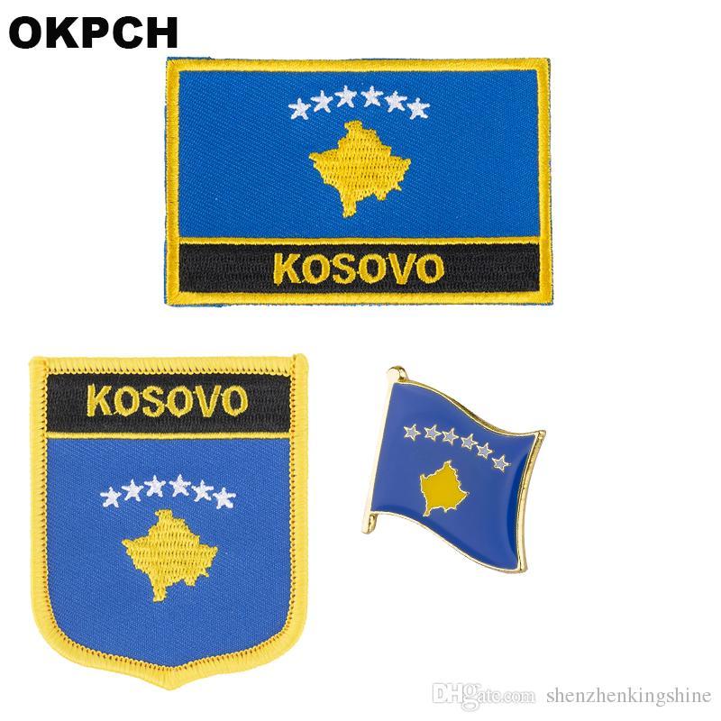 KOSOVO Flagge Patch Abzeichen 3pcs ein Set Patches für Kleidung DIY Dekoration PT0243-3