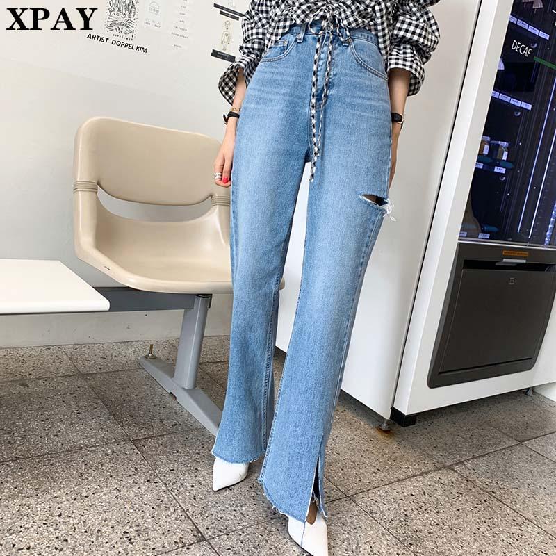 2020 Primavera Verão cintura Jeans nova alta Pants Mulheres vintage rachado rasgado reta calças Femme Streetwear perna larga Denim Pants