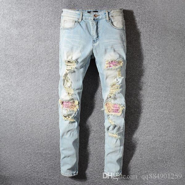 2019 mens luxury designer jeans Denim pants Men Brand Designer Hip Hop mens ripped skinny jeans mens designer jean shorts