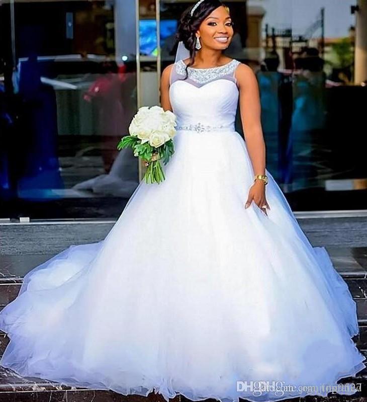 Дешевые Плюс Размер Свадебные Платья С Прозрачным Жемчужным Вырезом Серебряные Бусы Sash Puffy A Line Африканское Свадебное Платье Vestido De Noiva Свадебные Платья