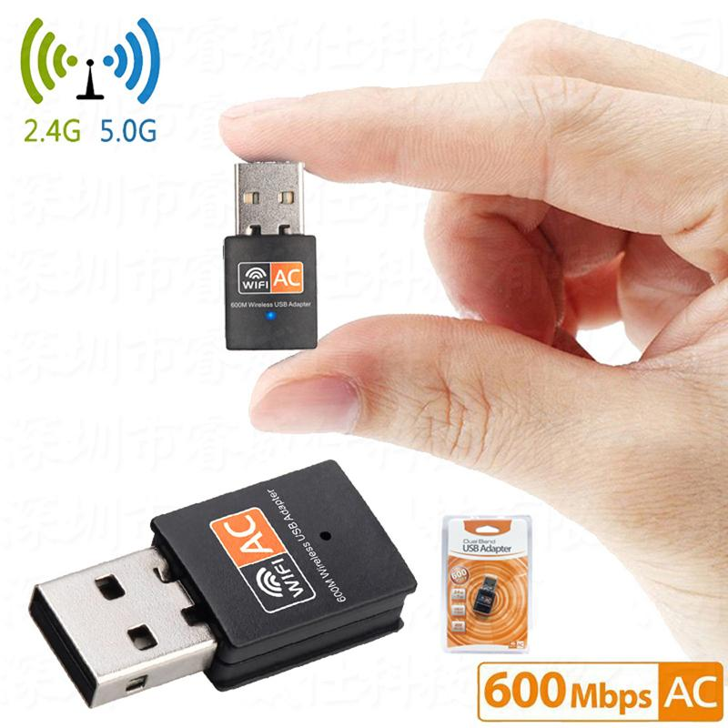 Adaptador USB sem fio de 600Mbps Dual Adapter AC600 2.4GHz 5GHz Receptor de Wifi Antena PC Mini Cartão de Rede de Computador 802.11AC