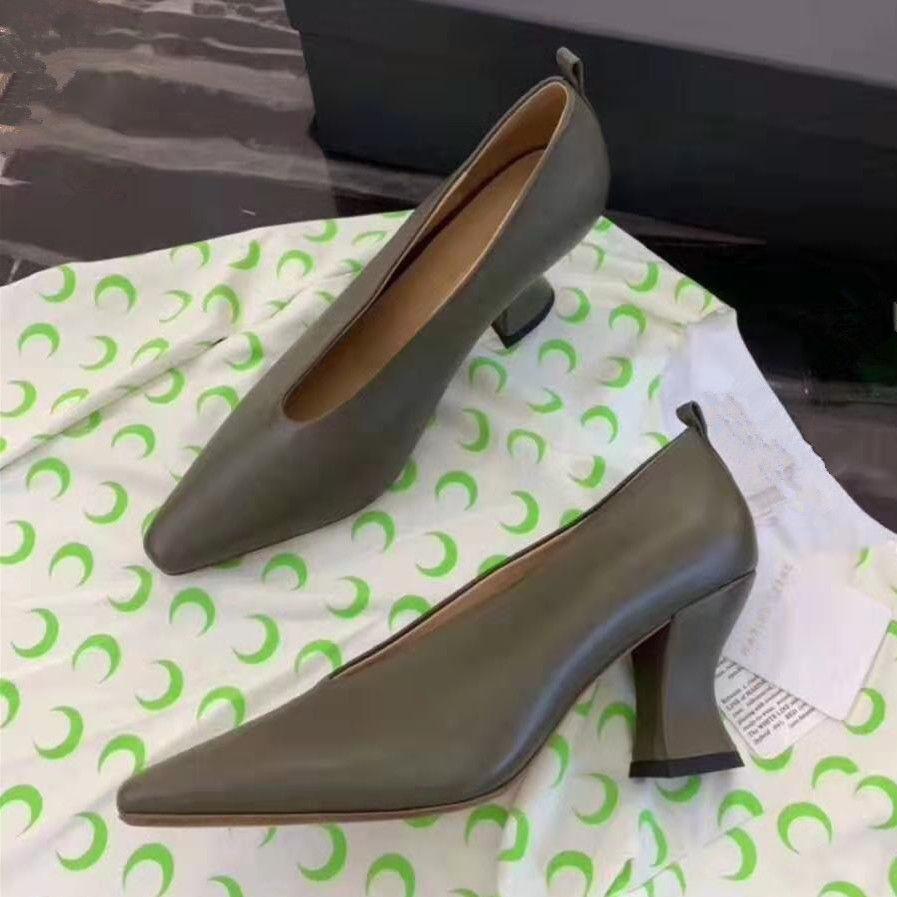 Yeşil Gerçek Deri Kadınlar İnce Topuk Kare Burun İnce Elbise Ayakkabı OL Çalışma Yüksek Topuklar Sığ Ayakkabı Kadın pompaları