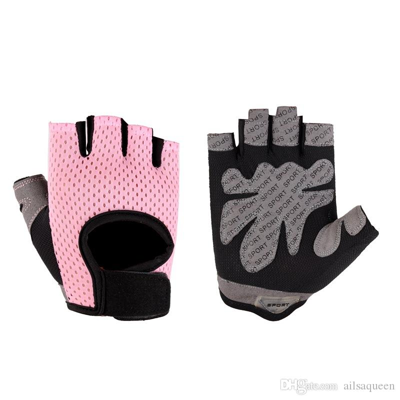 Women Sport Cycling Half Finger Gloves Non-slip Breathable Sponge Pad Glove Fitness Training Exercise Gloves for Bicycle
