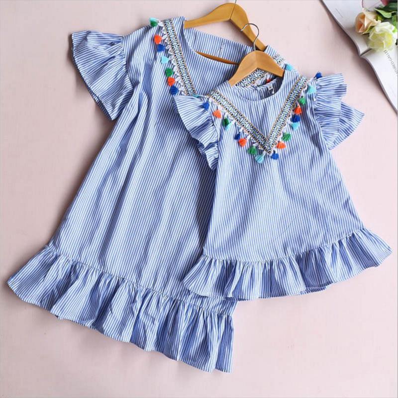 Baby Mädchen familie passender Kleidung Mama und Tochter Kleid neun Viertel Streifen Quaste Mini Mutter und Tochter Outfits