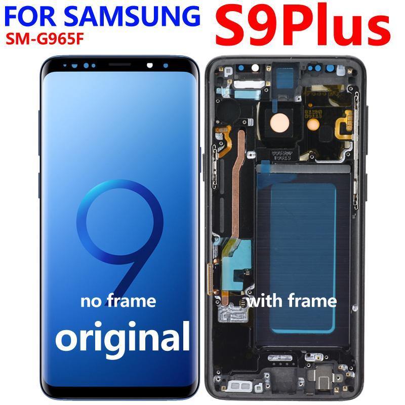 Frame ile Çerçeve S9 Plus LCD G960 G965 ile SAMSUNG Galaxy S9 LCD Dokunmatik Ekran Digitizer için SÜPER AMOLED Değiştirme