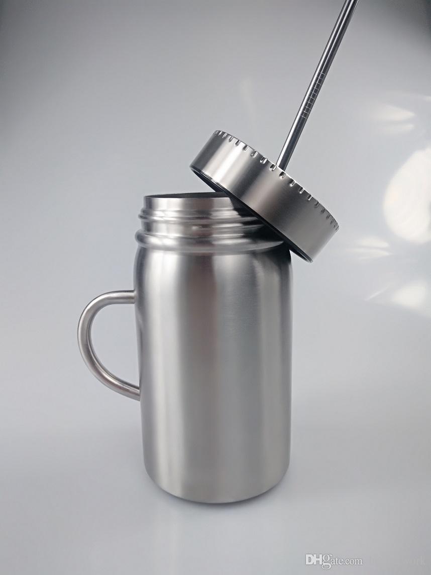 500 мл кружка из нержавеющей стали Мейсон Jar двойной стены Мейсон чашка с ручкой кофе пиво сок кружка Мейсон банки чашка воды Бесплатная доставка
