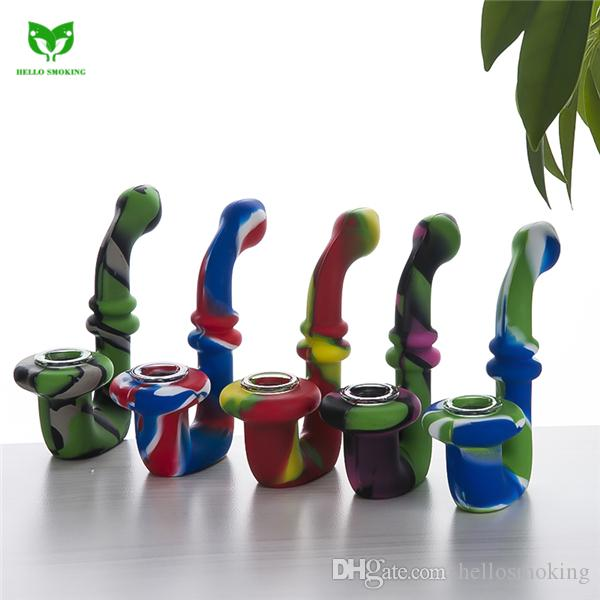 Silicone Bong Water Bong With Glass Bowl For Dry Herb Silicon Oil Rig Portable Tobacco Smoking Pipes 477