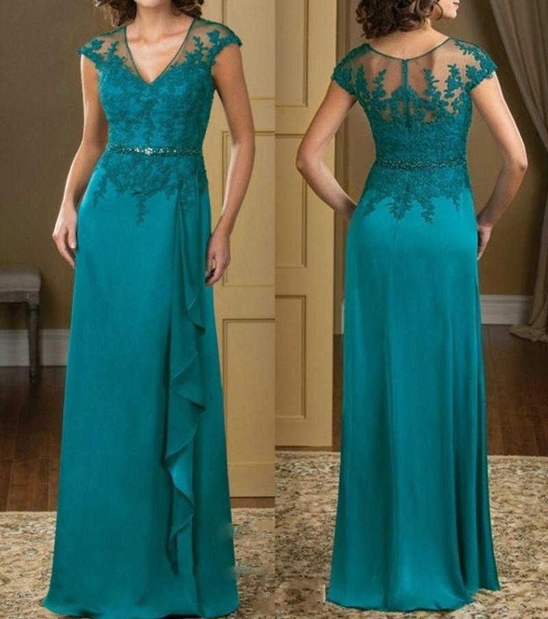 Summer Chiffon A-Line Mother of The Bride Dresses V Neck Lace Appliques Evening Dress Beaded Prom Party Gowns