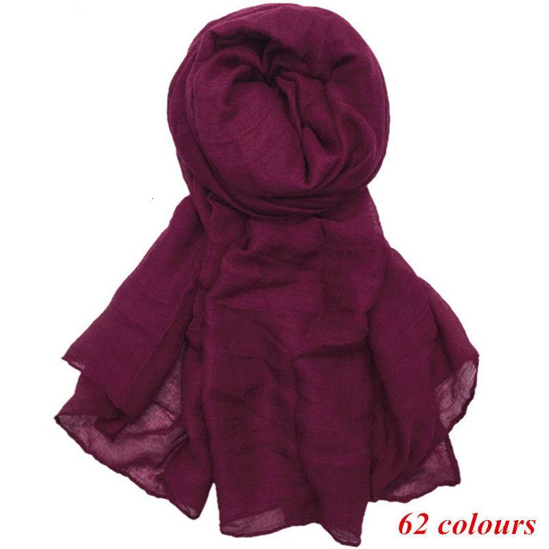 Large maxi plain scarf solid hijab fashion wraps foulard viscose cotton shawls soft muslim women scarves hijabs 10pcs/lot Y191022