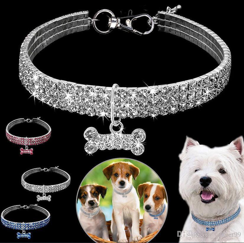 Bling strass animal de estimação cão gato colarinho de cristal filhote de cachorro chihuahua colares coleira para pequenos cães médios mascotas diamond jewelry acessórios s m l