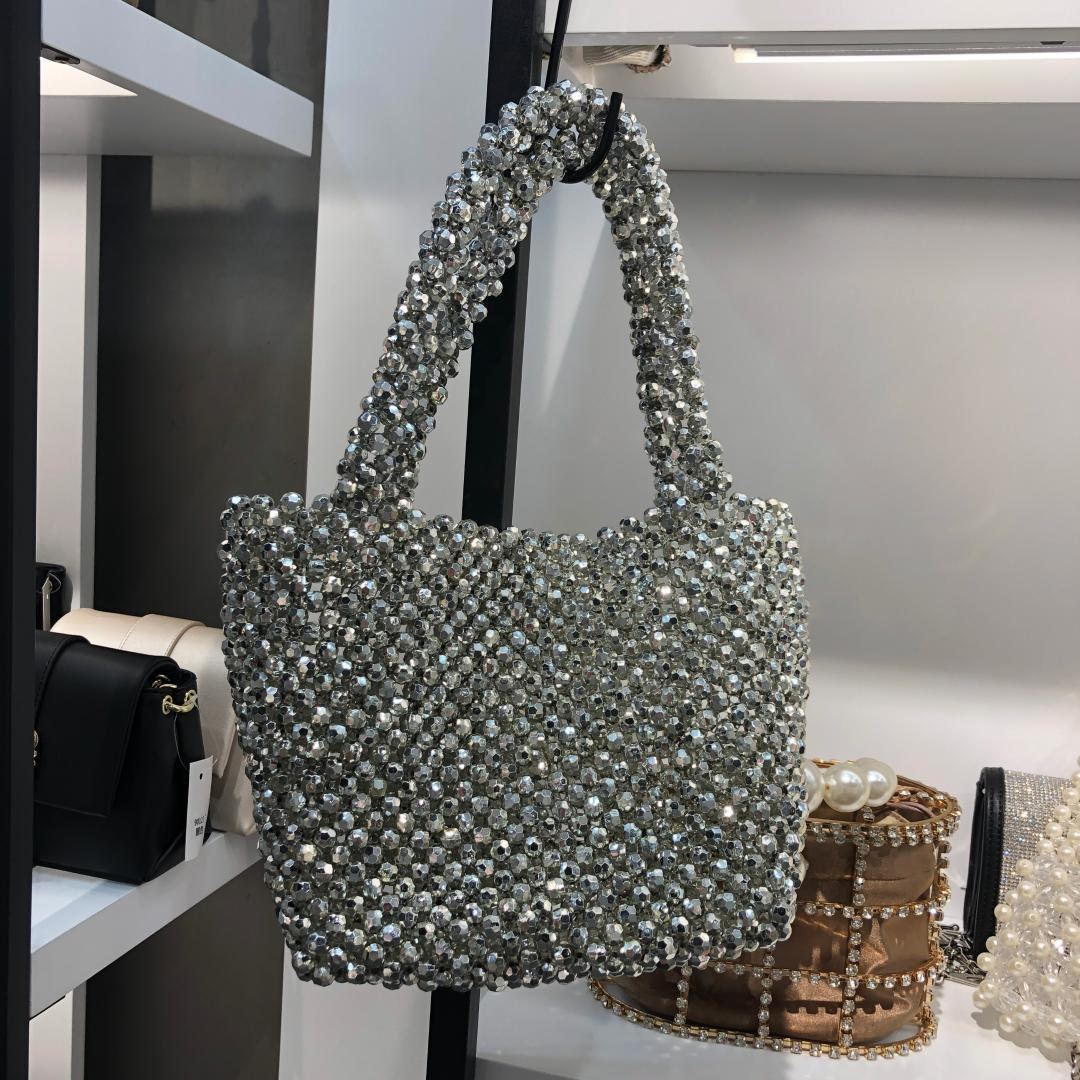 Beaded Box Totes Bag Women Party Vintage Handbag Sequined Rhinestones Luxury Purse Glitter Bling Summer Bags Party Evening