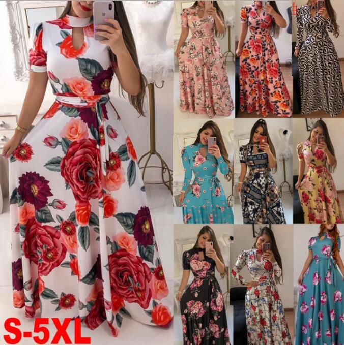 Womens Party Evening Boho Floral Evening Holiday Long Sleeve Cocktail Maxi Dress