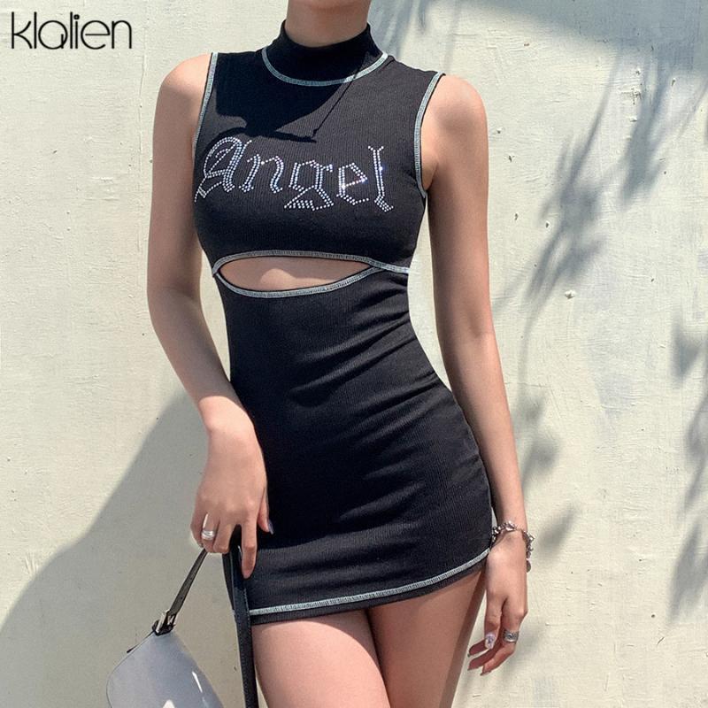KLALIEN casuais moda verão vestido de diamante brilhante bodycon mulheres 2020 streetwear sexy cintura alta oca a carta mini-vestido
