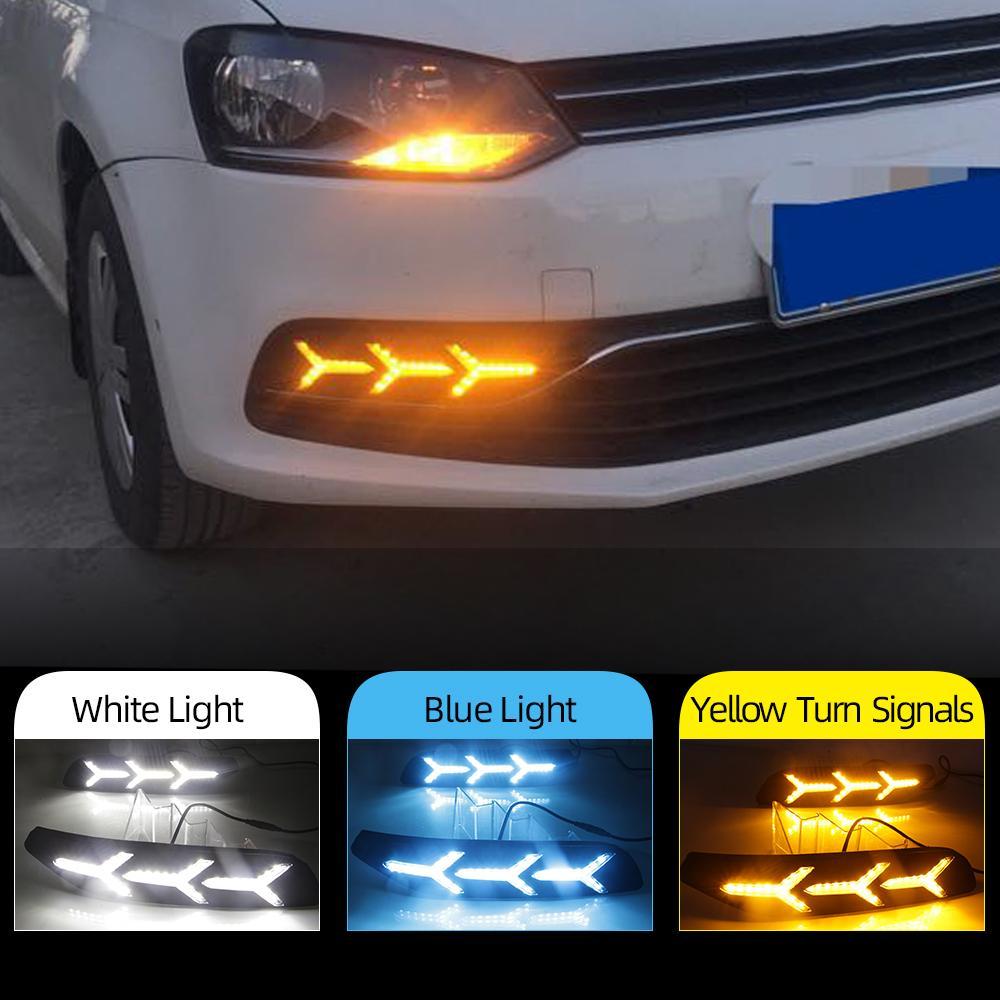 2PCS تشغيل أضواء النهار DRL LED لفولكس واجن فولكس فاجن بولو 2014 ضوء 2015 2016 2017 2018 القيادة الديناميكي الملون تدفق الضباب