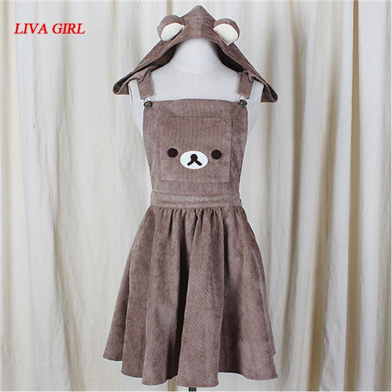 Повседневные платья 2021 японские а-линия платье милый медведь вышивка хараджуку Лолита