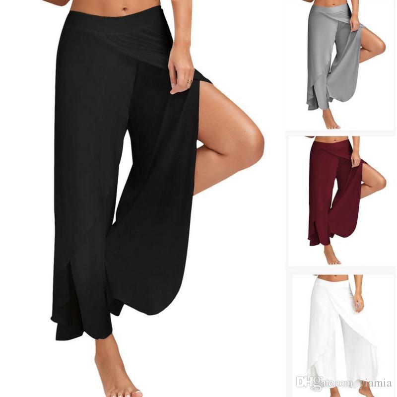 Femmes à moitié exposés fitness grande taille lâche jambe large pantalons de yoga gym sport pantalon de course noir blanc pantalon de sport M-2XL Pro