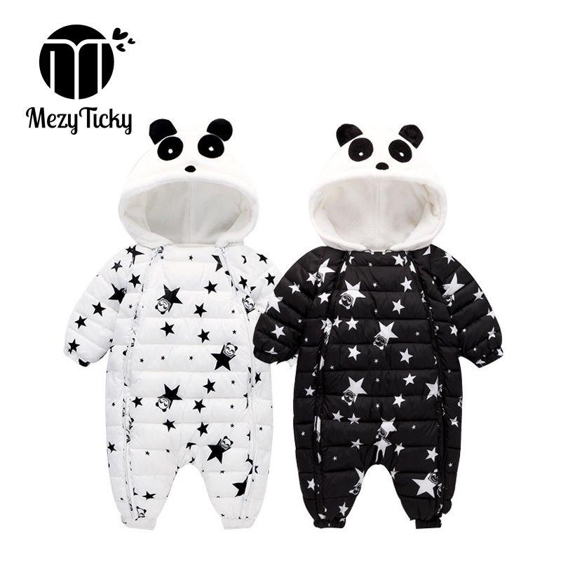 Winter Kinderbekleidung Kinder Mädchen Panda mit Kapuze einteiliger Spielanzug plus Samt warmer verdicken neugeborenes Baby Baumwollkleidung