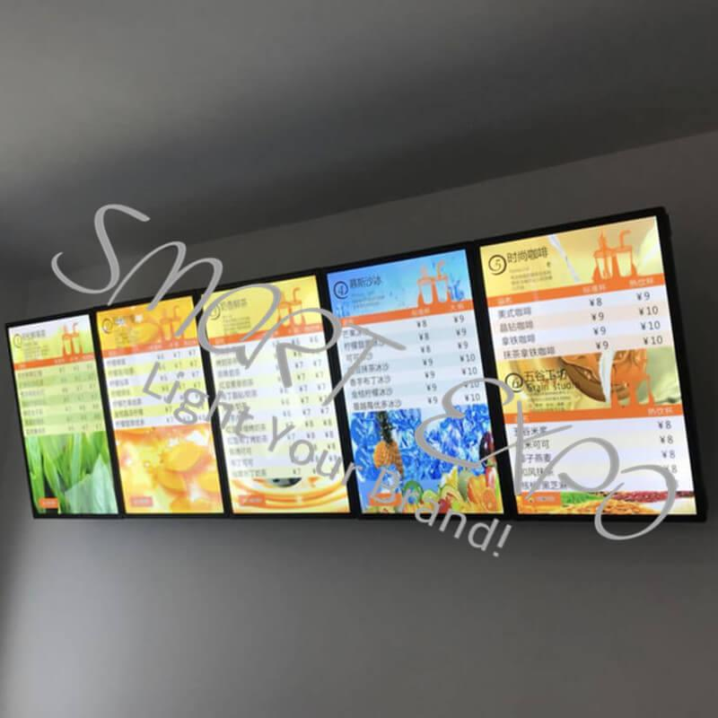 60x200cm Magnetic Illuminated Sign Hanging Cafe Menu Board with 5pcs Light Boxes Units Wooden Case Packing