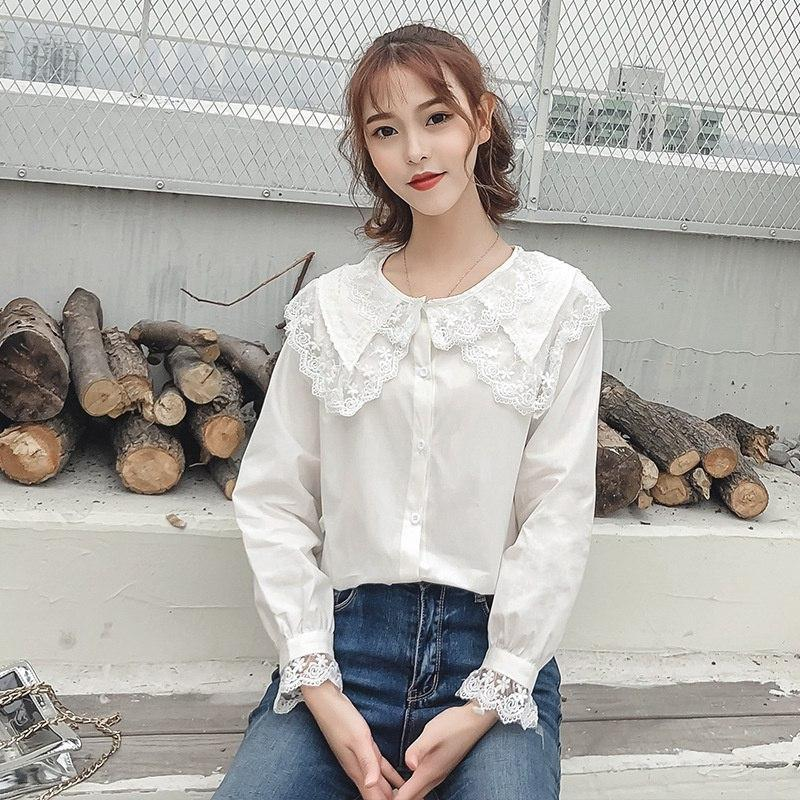 Nueva Peterpan cuello blanco camisa camisas de manga larga coreana de las colmenas de las mujeres Streetwear delgada blusa de la gasa elegante de las señoras Tops