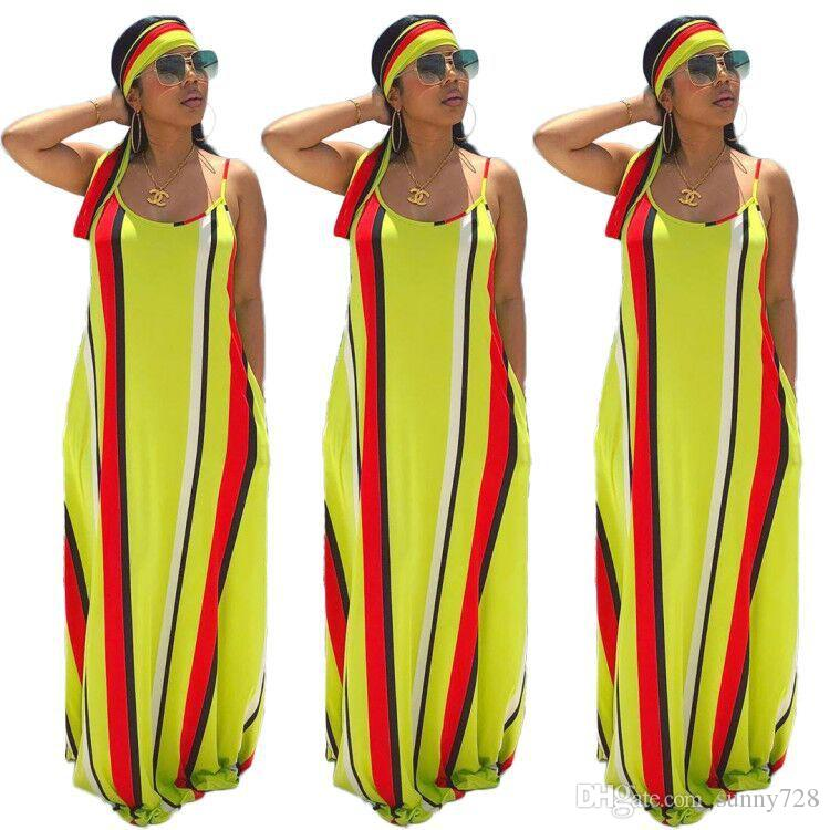 Yellow Stripes Loose Women Spaghetti Long Dress with scarf Summer Loose Sleeveless Pockets Floor Length Casual Maxi Dresses New Arrivals