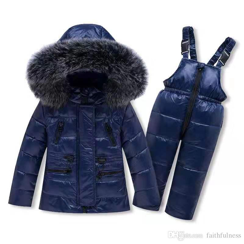 Childrens Girls Boys 90/% Warm Duck Down clothing set kids winter jacket overalls for girl down /& parkas Suitable 2-4 years