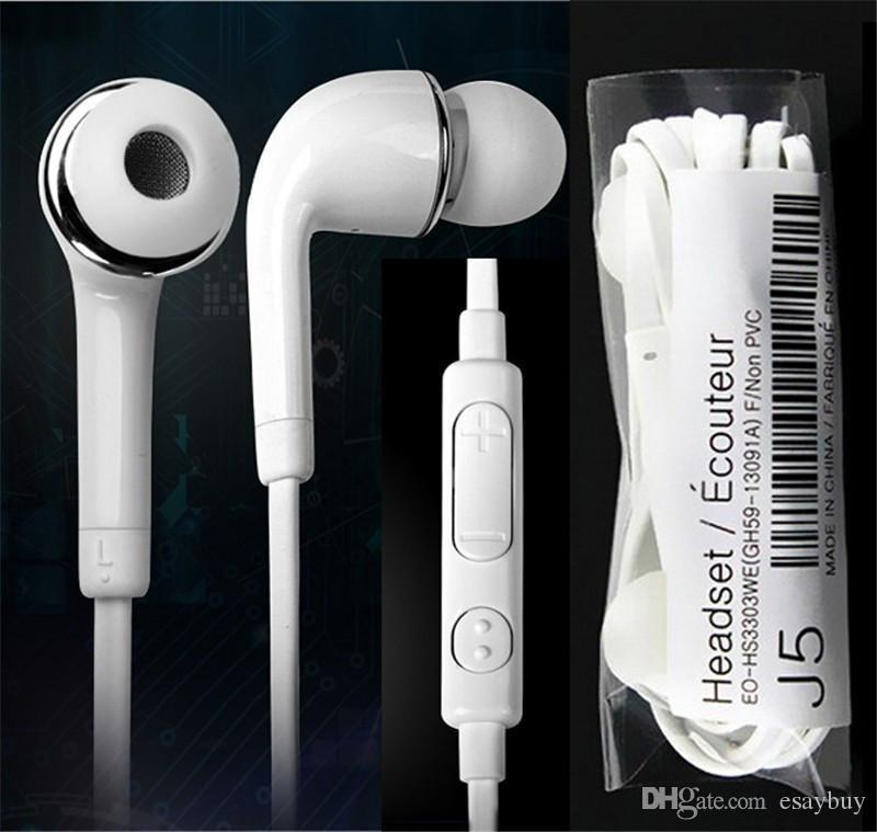 Auriculares de auricular de Auriculares Stereo J5 de 3,5 mm con auriculares con micrófono de control remoto de micrófono de micrófono de control de volumen Buena calidad para Samsung S4 S5 S6