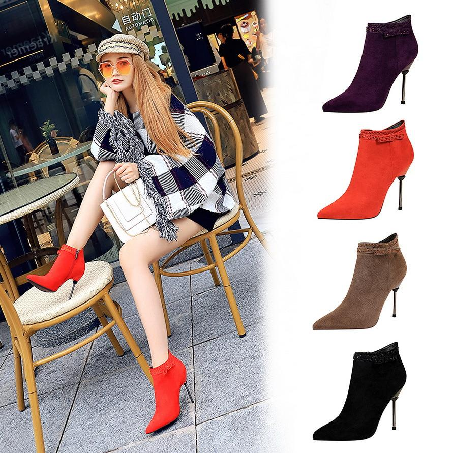 6638 koreanische Art und Weise Bankett kurze Damen Stiefel dünne Ferse super hohe Wildleder spitzen Kopf Strass sexy dünne kurze Stiefel