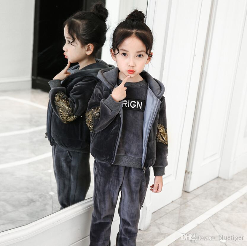 Explosion models Fashion three-piece for Girl Designer plus gold velvet winter warm sets top+vest+trousers free shipping