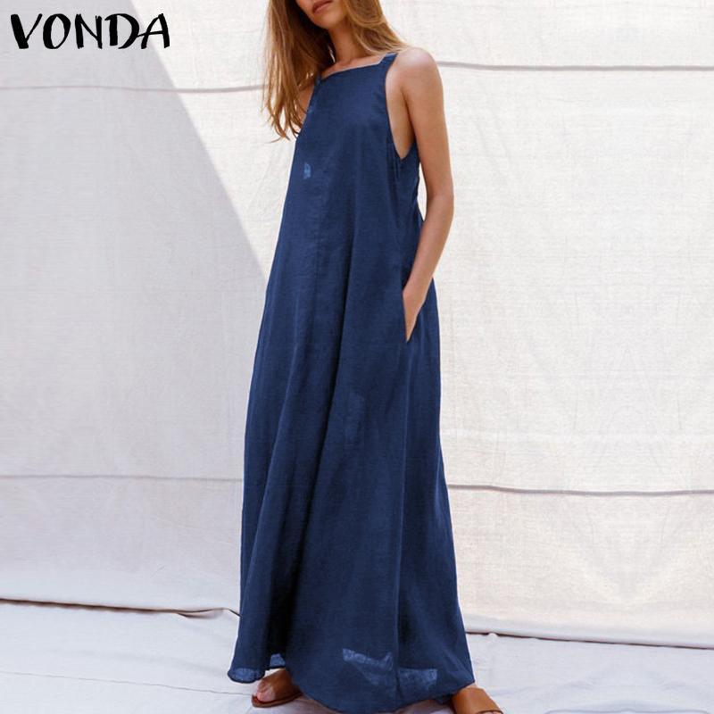 Vonda Seksi Elbise Kadınlar 2019 Yaz Rahat Kare Boyun Kolsuz Spagetti Kayışı Parti Uzun Elbiseler Backless Vestido 5xl Y19071001