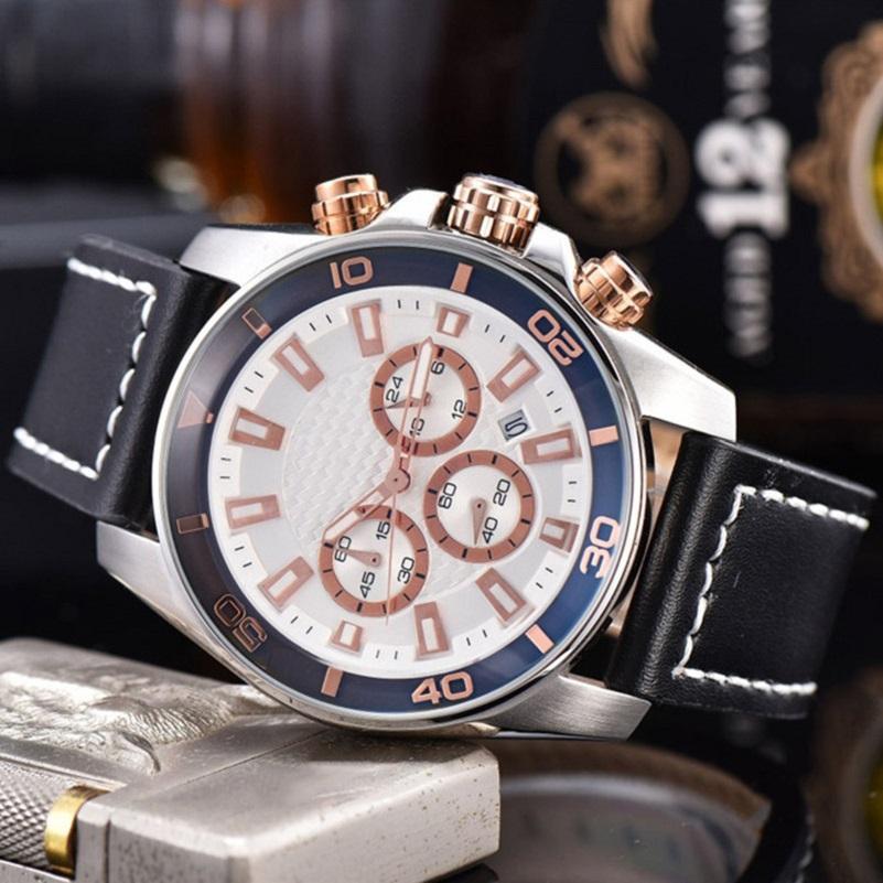 Reloj del cuero de la marca manera ocasional militar del cuarzo del reloj de los deportes Todos los Diseñador funciones de trabajo de 42 mm de los hombres del reloj AM111